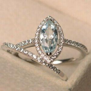 Women's silver 2 pc fashion blue silver ring set
